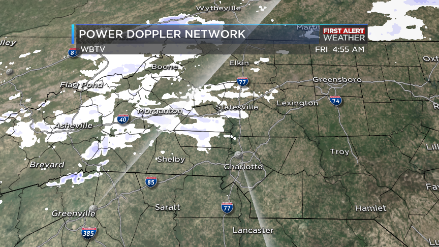 At 5am, @wbtv_news POWER DOPPLER RADAR picking up a little snow north of Charlotte. Anything happening in your city?