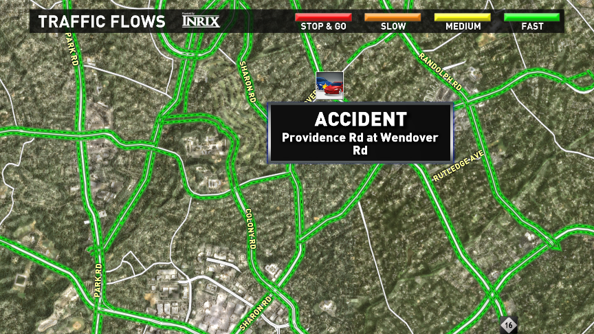 Crash reported on Providence Rd at Wendover Rd. CltTraffic