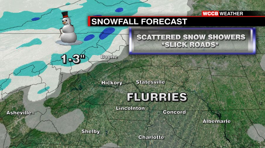 Flurries for most, with accumulation possible in the Mountains. @WCCBCharlotte
