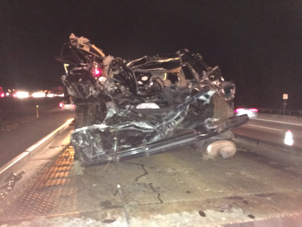 Honda Accord smushed by tractor trailer on 95 in Howard County. Troopers say Driver sufferers minor injuries.