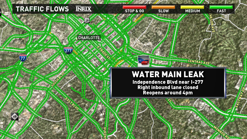 Heads up- A lane is still closed on Independence near I-277 for repair work on that leaking water main. CltTraffic