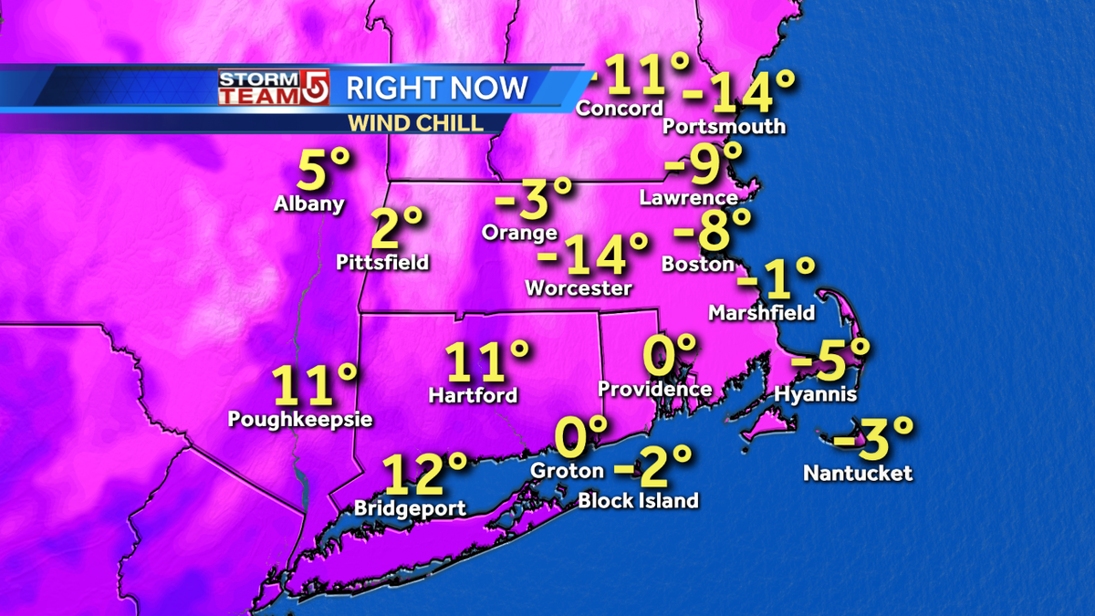 BUNDLE UP! Wind chills are below zero right now and the worst of the cold and wind yet to come this weekend wcvb