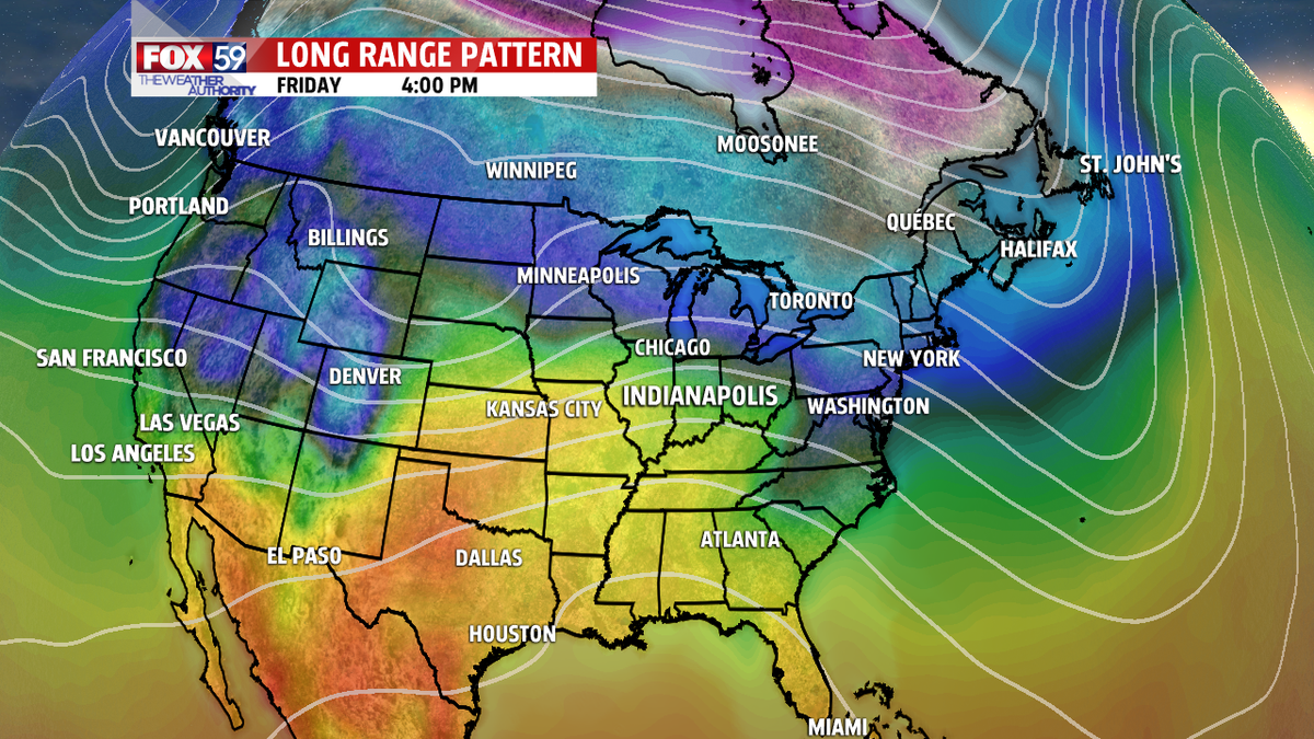 Long range models pointing to 40's and 50's by next Friday and that weekend! Pattern break coming... FOX59Morning