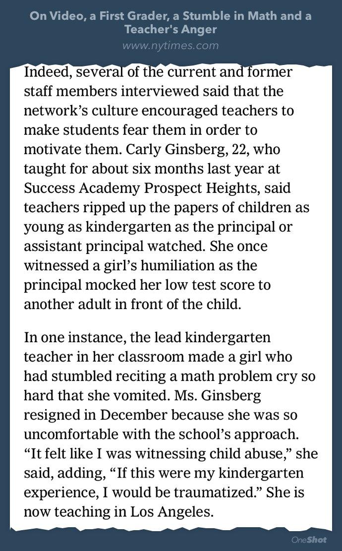 """""""It felt like I was witnessing child abuse,"""" a former Success Academy teacher said. https://t.co/leXLKeKEB8 https://t.co/Zogw2hlRTT"""