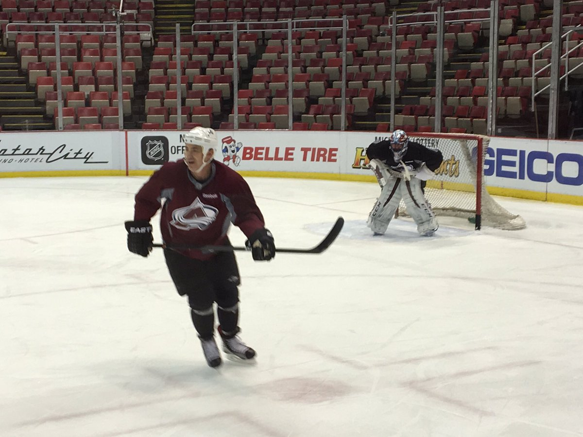 How's this for a flashback? Joe Sakic and Patrick Roy skating in Detroit today, preparing for outdoor alumni game.