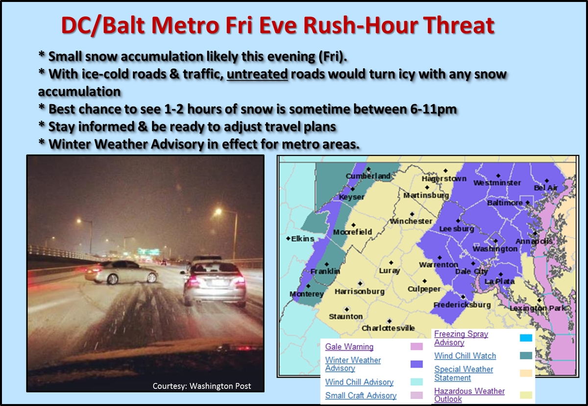 DC/Balt metro: 2hr snow likely between 6-11pm. Small accum would make untreated roads icy.
