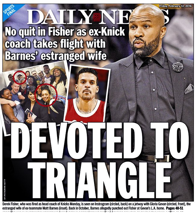 Today's @NYDNSports cover...@DerekFisher is still devoted to the triangle
