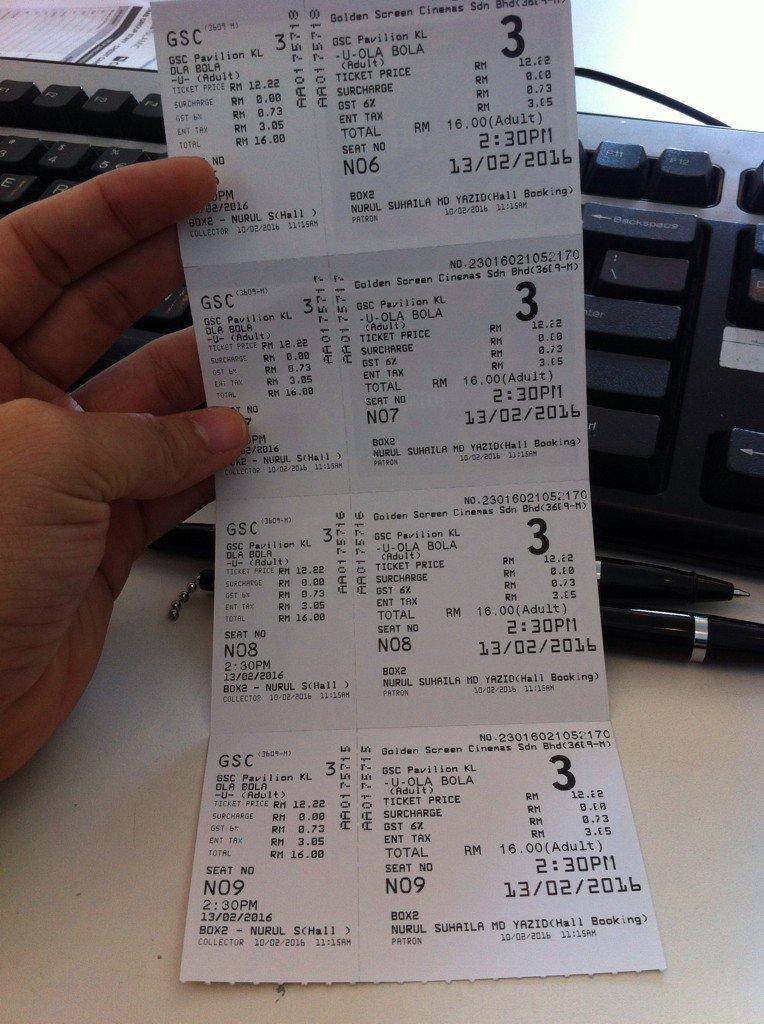 Tiket movie ola bola free - 4 tiket. Venue: pavilion, time : 2.30pm.. Free je, anyone? Free air + popcorn. Mls prgi https://t.co/E9fCG5mUyQ