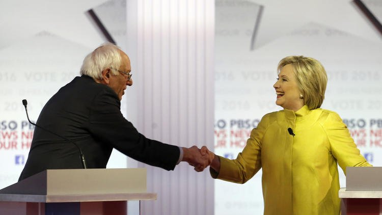 Analysis: A subdued Clinton and excitable Sanders at the debate points at major differences