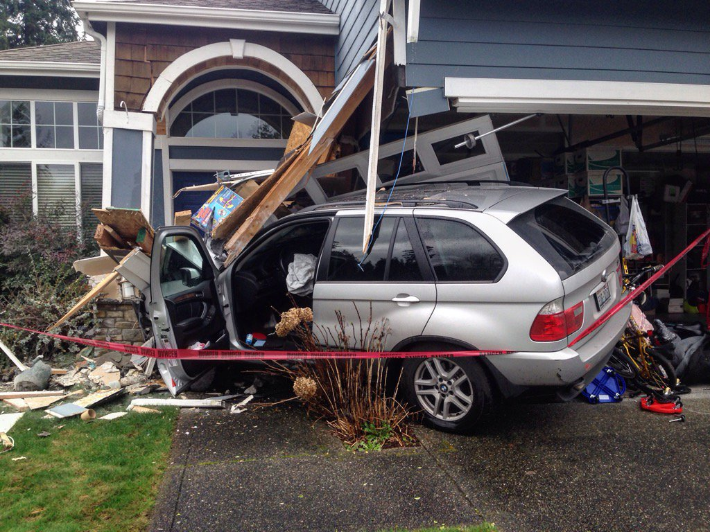 Woman accidentally drove car into neighbors house about noon today in the 18600 blk of 64th. No injuries.