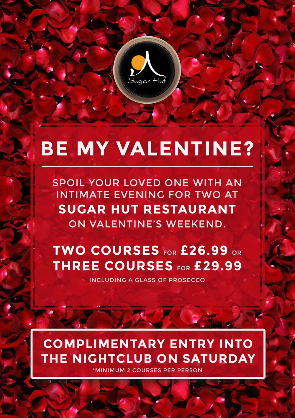 This Weekend is Valentine's Weekend. Enjoy dinner in the @sugarhutcafe and gain complimentary entry into the club! https://t.co/lUXIIFmxcL