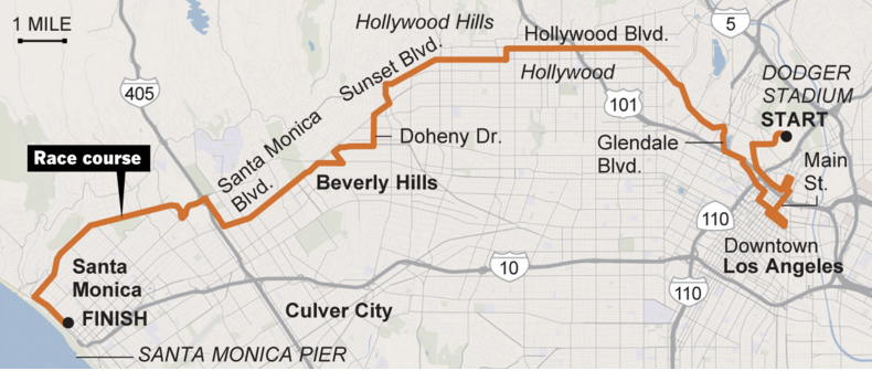 LAmarathon by the numbers: The 26.2 mi route from Dodger Stadium to Santa Monica