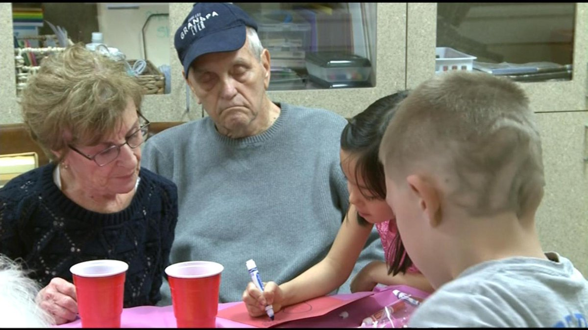 Dementia Patients Light Up By Making Valentine's Day Cards With Kids