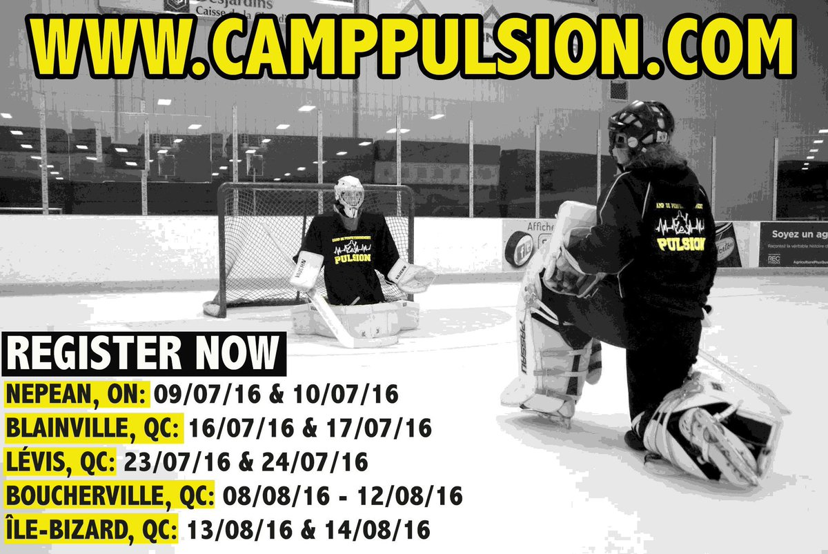 OUVERTURE DES INSCRIPTIONS | REGISTRATION ARE NOW OPEN. http://www.camppulsion.com #CampPulsion #goalie #ringettecamp pic.twitter.com/0GbUaagwkN
