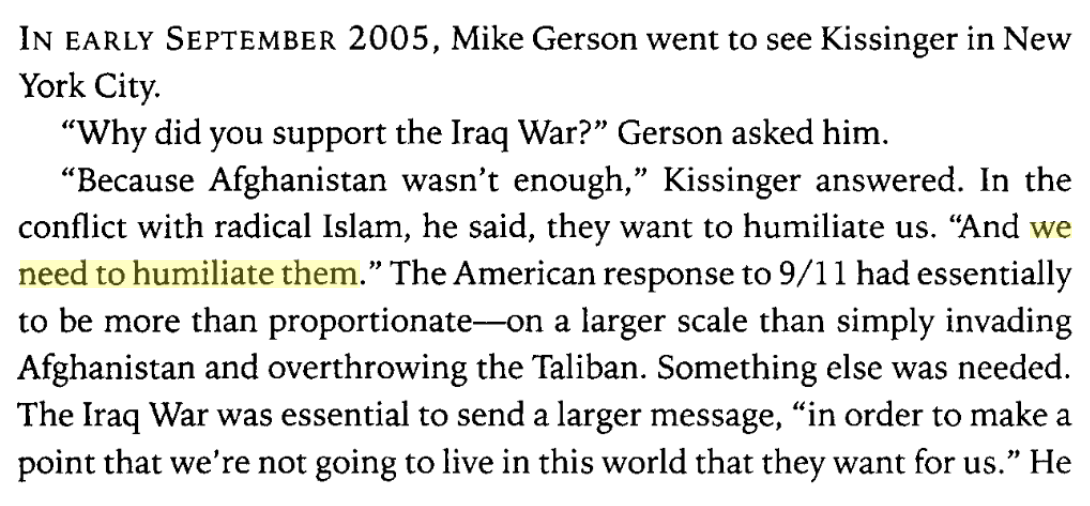 "Henry Kissinger said he supported the Iraq war because ""we need to humiliate them"" https://t.co/R7mK6jtAfE https://t.co/9louClTKoi"