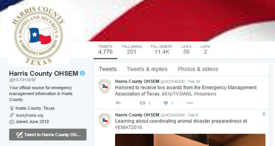 If you're not already, you should follow these top 17 Harris County twitter accounts.