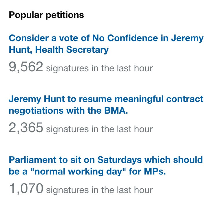 The three most popular petitions on https://t.co/1a3aPoCwio at the moment are pretty interesting. https://t.co/84P4xQrOx7