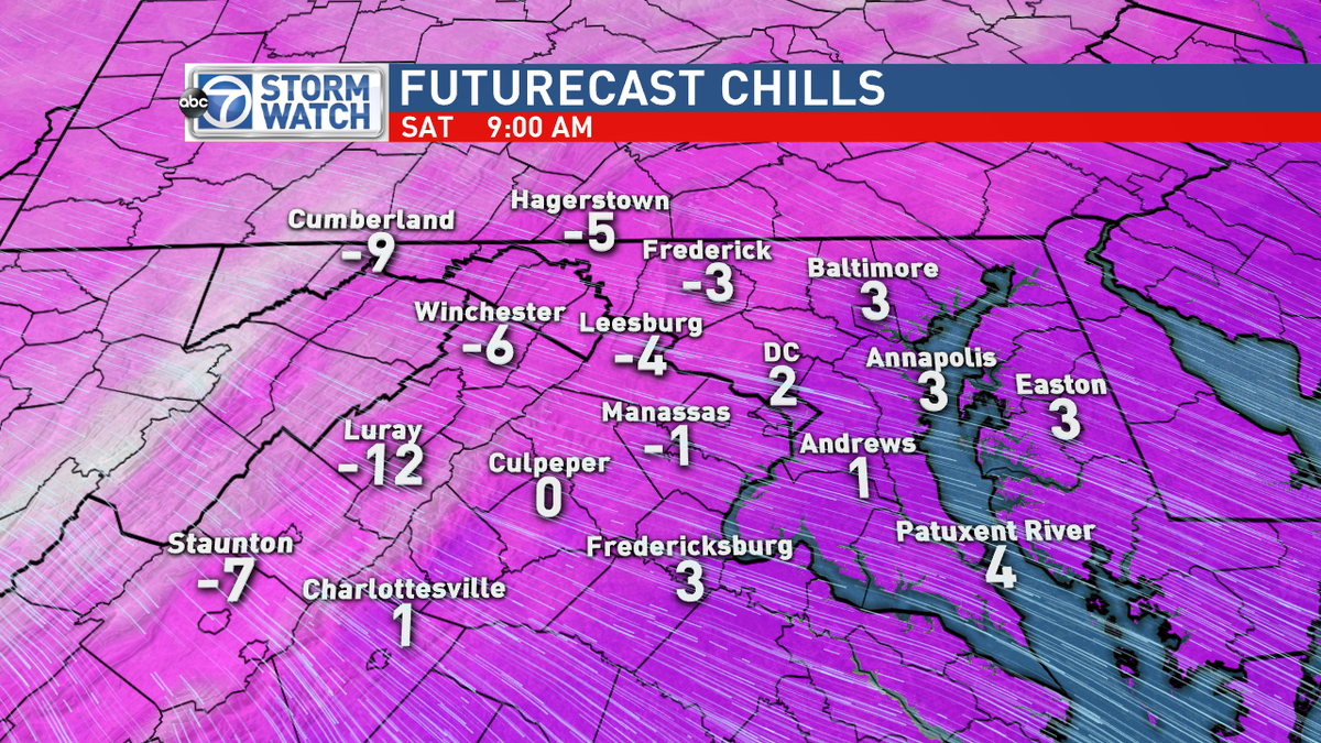 Arctic cold blows in overnight and you will awake to feels like temperatures from -15 to 5 degrees! Dangerous!