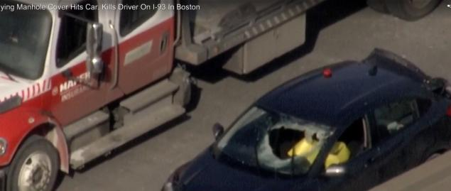 Metal manhole cover that 'became dislodged and airborne' kills driver on Boston highway