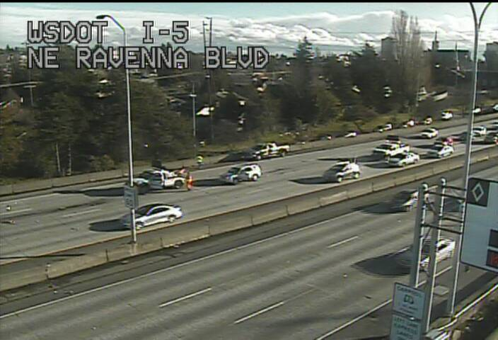 CLARIFICATION: NB I-5 before Lake City Way only the left lane is open due to crash.