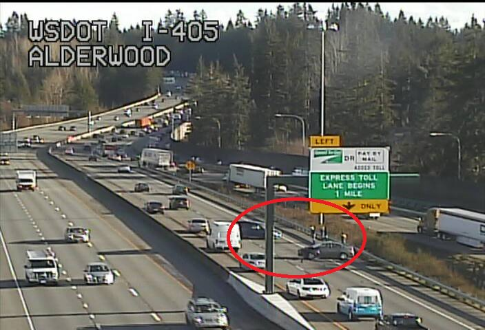 SB I-405 at I-5 in Lynnwood, a collision is blocking the right lane.