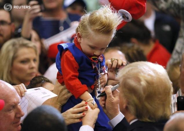 @realDonaldTrump met a young fan with a funky faux hawk yesterday