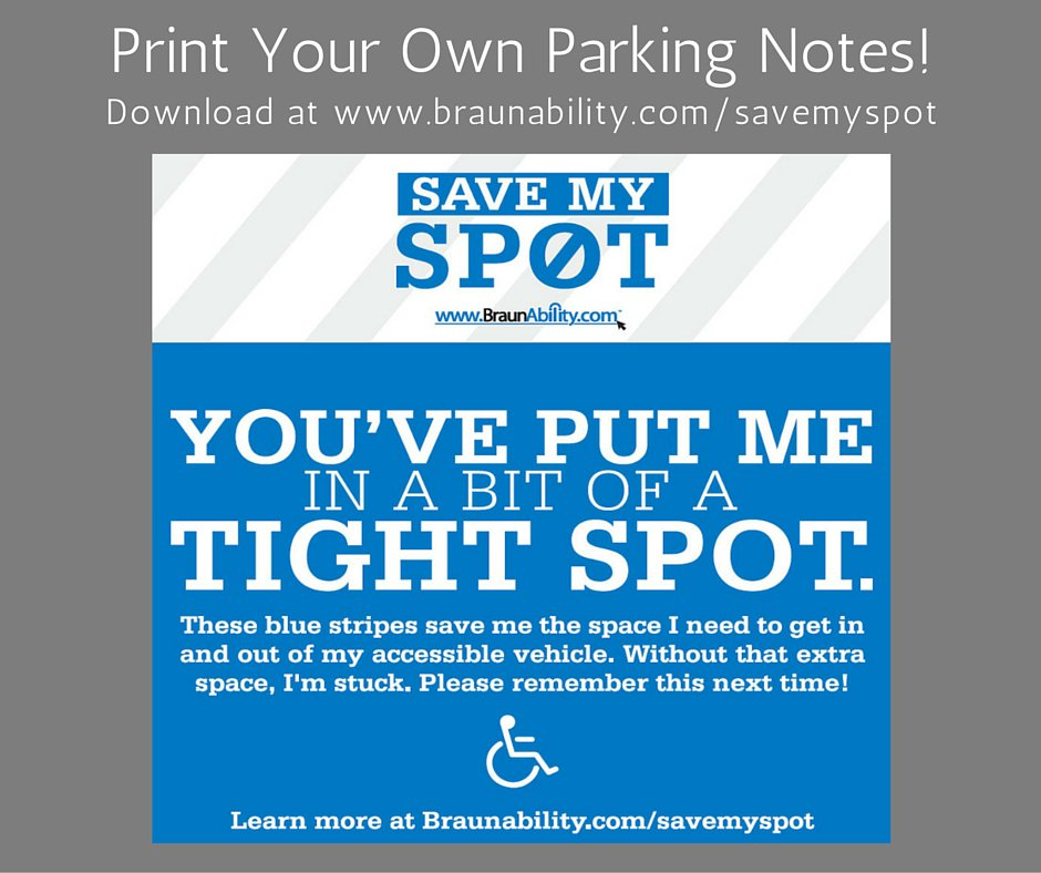 photograph regarding Parking Notes Printable named BraunAbility upon Twitter: \