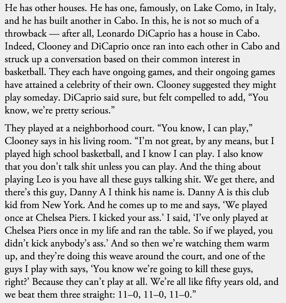 Never forget George Clooney's story about running Leonardo DiCaprio and his club kid friends off the dang court. https://t.co/ik4uti2OI4