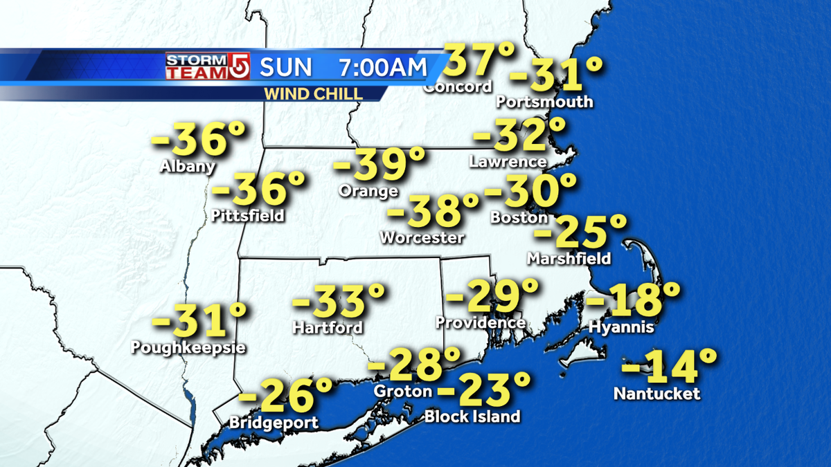 Wind chill temps. about as low as they ever get here Sat. Nt & Sun AM wcvb