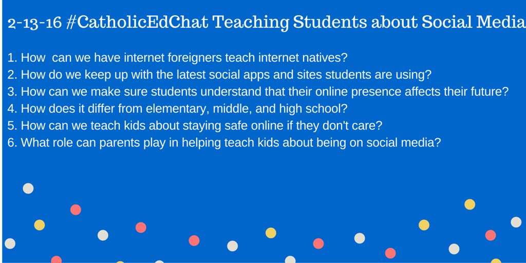 Here are today's #CatholicEdChat question with @The_Geeky_Girl see you at 8am CST https://t.co/4J2H2EG8H9