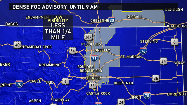 Low visibility on the Front Range, Foothills, and Plains this morning. Drive safely! @9News 9wx