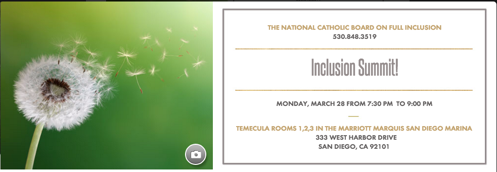 Hey #catholicedchat peeps...going to @NCEATALK convention? Come to our #InclusionSummit the night b4. #ALLarewelcome https://t.co/4ojR102xP2