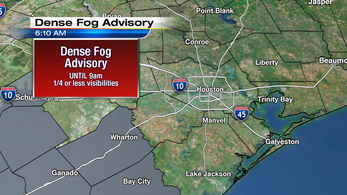 Dense Fog Advisory until 9am for some counties in Southeast Texas. Temps are mild and heading toward the upper 60s