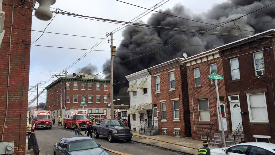 Philly fire crews are on the scene of a multi-alarm fire in Frankford.