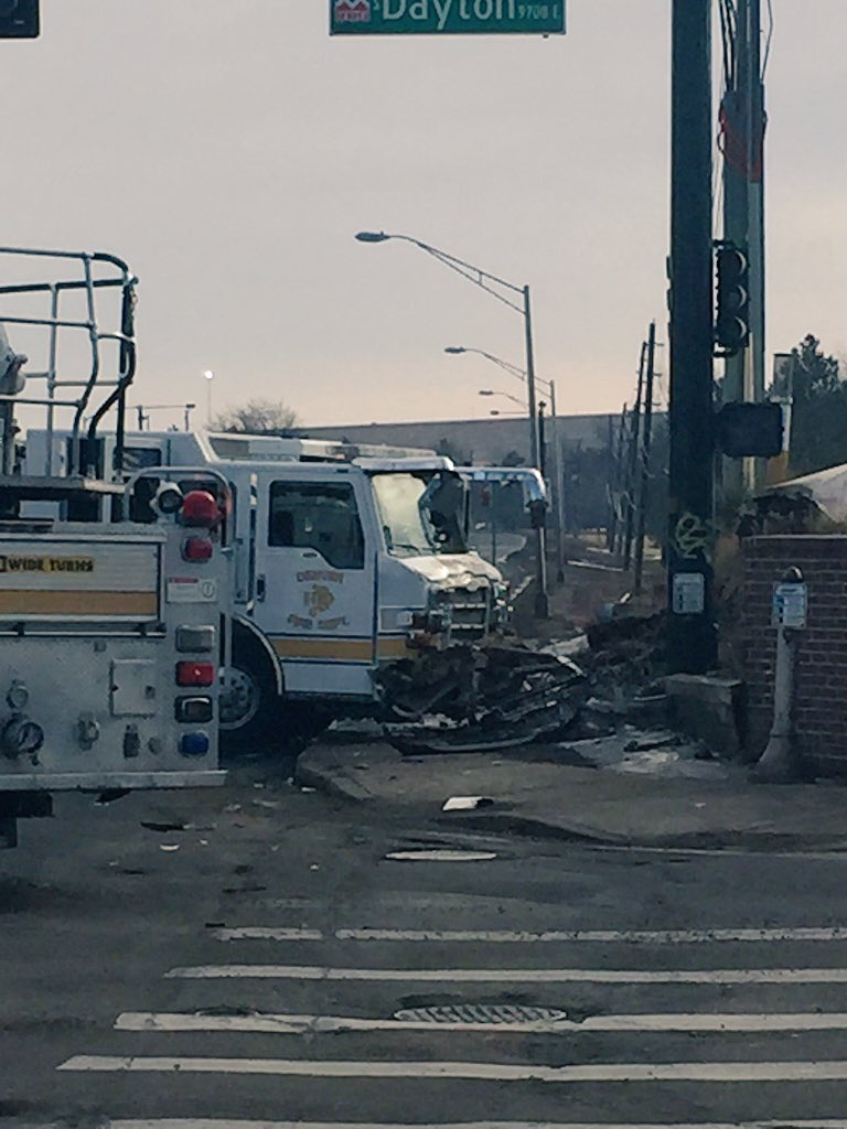 Better view of fire truck that crashed at Dayton/Hampden