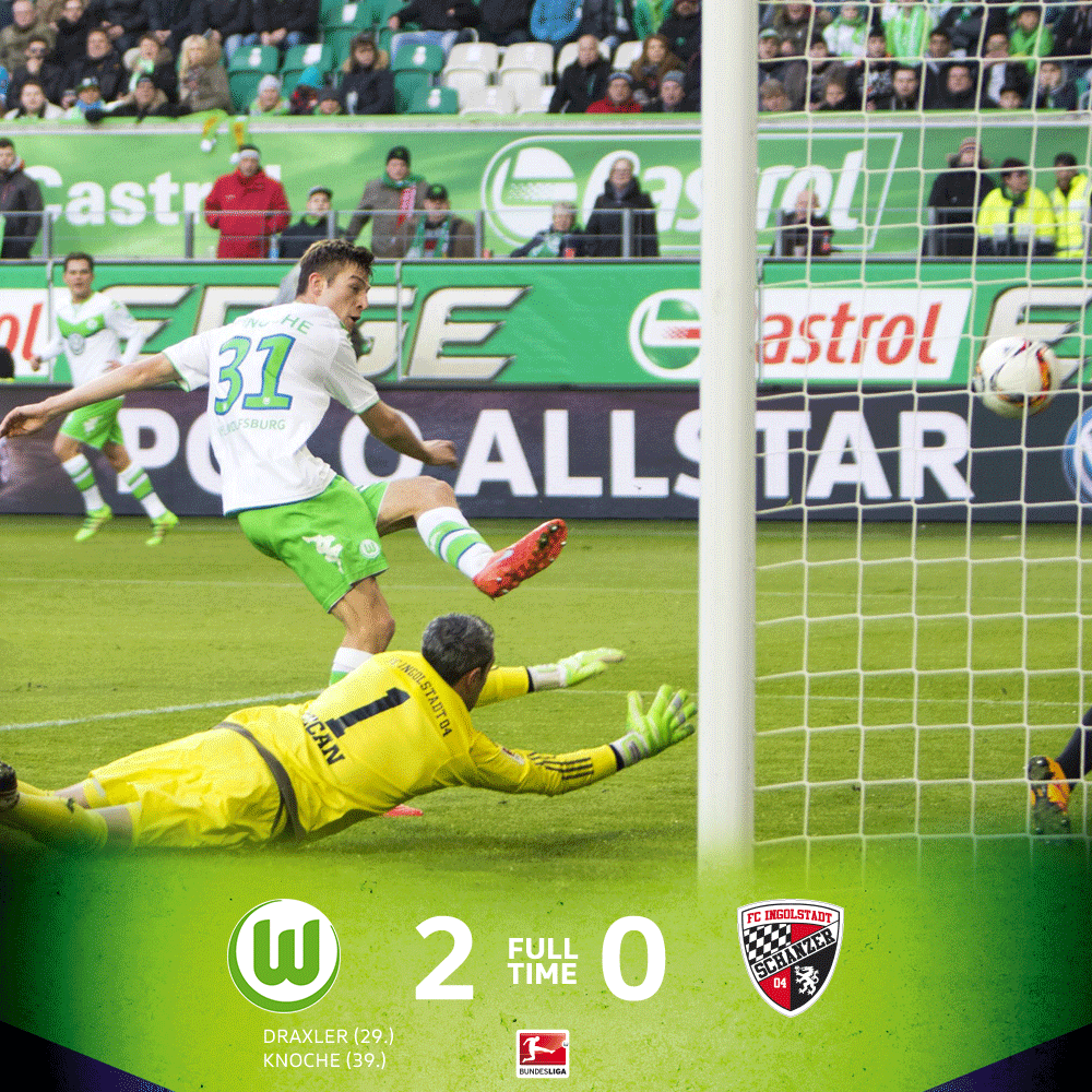 Momento do segundo gol do Wolfsburg, Knoche