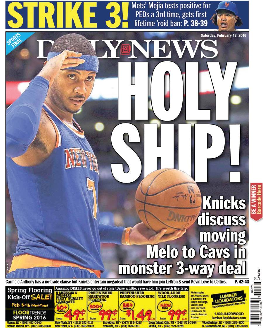 TODAY'S BACK PAGE: Deal involving Melo, between Knicks, Cavs and Celtics still a possibility
