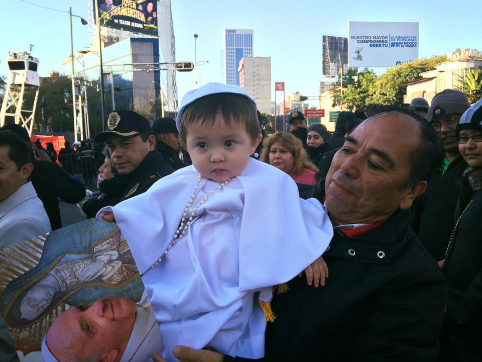 Cute: 'Mini Pontiff' greets Pope Francis on first day in Mexico. More: abc13