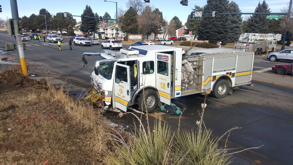Denver Fire: woman who crashed w/ fire truck at Dayton/Hampden hospitalized. No firefighters hurt