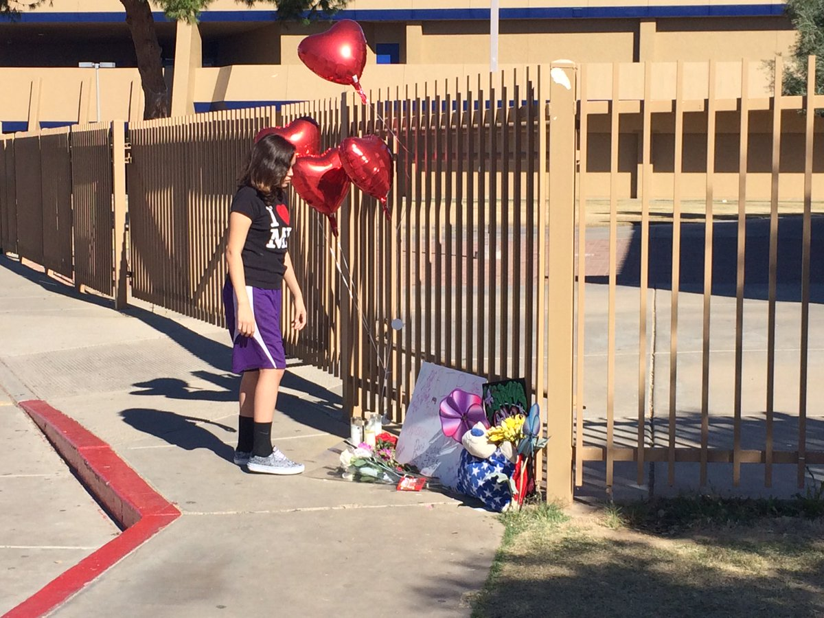 Peers are still showing up and leaving memorials at Independence High School this morning. abc15