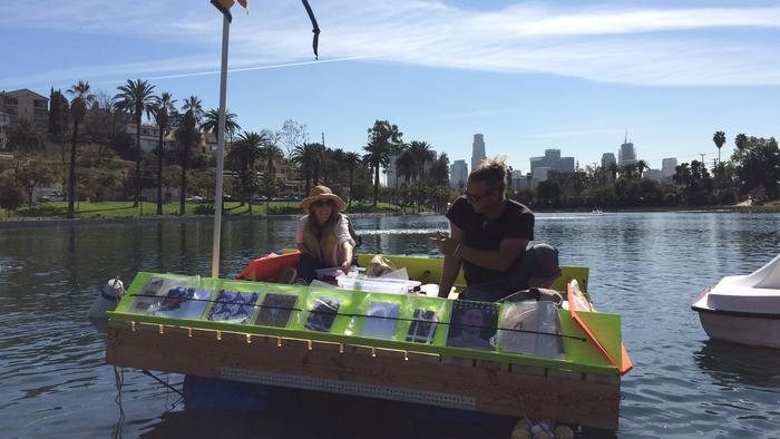 Make a visit to the Floating Library in Echo Park Lake this weekend (arrive by pedal boat)