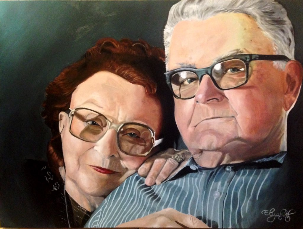 """My painting of Clark & Jackie McEntire. """"Yours is the heart I'll always keep. I'm not gone even if I leave.""""  @reba https://t.co/244XyW0K1L"""