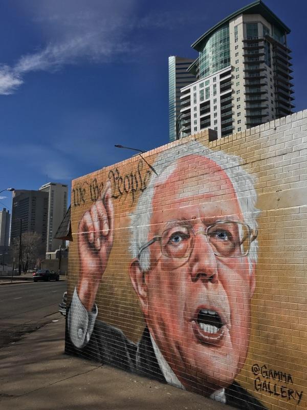 Bernie Sanders mural pops up downtown ahead of Saturday's rally