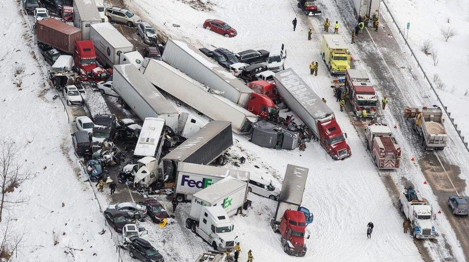 Three are killed, dozens injured in huge pileup on Pennsylvania interstate