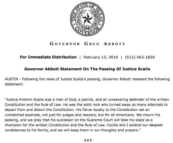 .@GovAbbott statement on death of Antonin Scalia https://t.co/Y8NeuMWubm