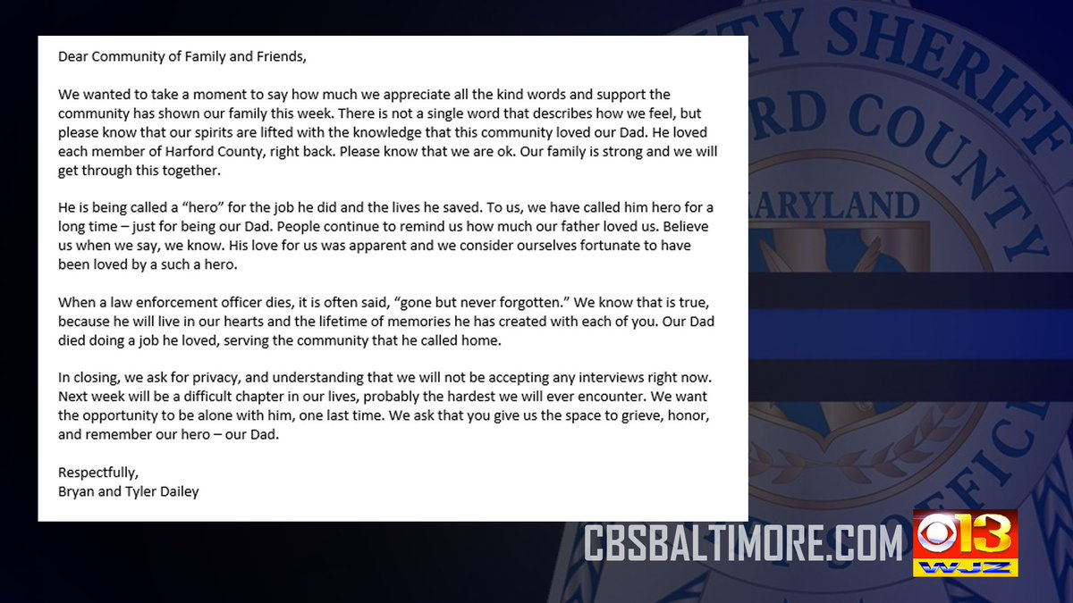 NEW: Sons of fallen Harford Co. Deputy Pat Dailey release a statement to the public