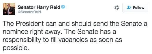 Sen. Harry Reid calls potential year-long Court vacancy