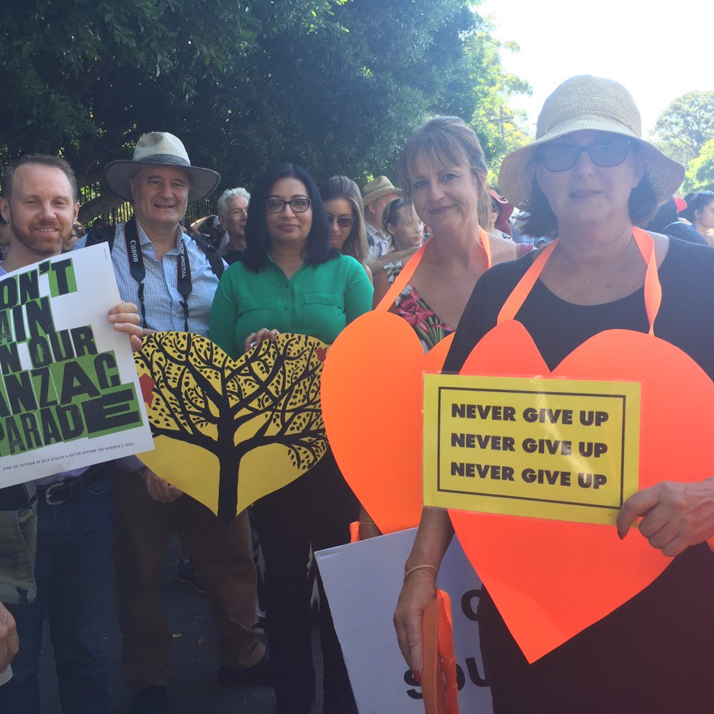 Greens at Alison and Darley Roads save the trees rally 2016.