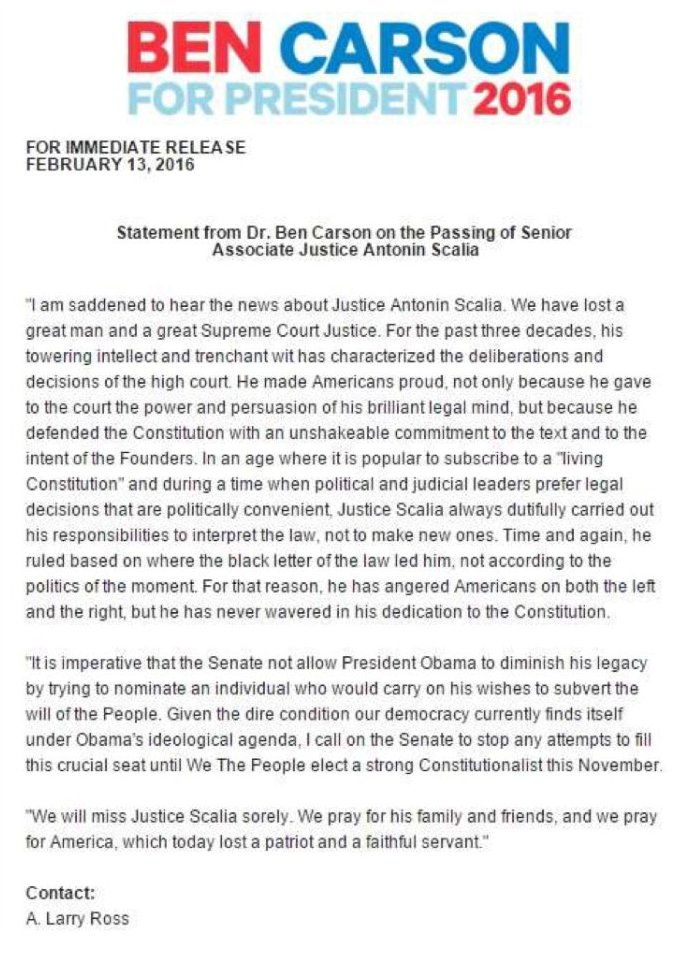 STMT: Ben Carson releases a statement on the passing of Scalia, says seat shouldn't be filled until Nov.