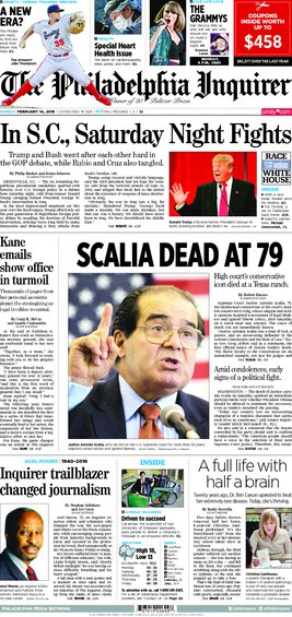 Today's Inquirer, 02/14/16 inqfrontpage